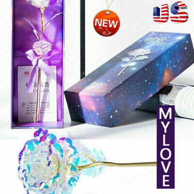 Galaxy Rose Romantic Crystal Flower Valentines Day Lovers Rose With Gift Box US