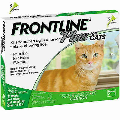 Frontline Plus For Cats 3 Doses  3 Month Supply Flea - Tick Remedy Genuine New