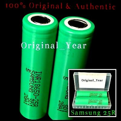 2 Samsung 18650 25R 2500mAh 35A High Drain Rechargeable Battery Free Case