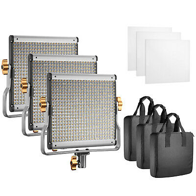 Neewer Photography 3-Pack Dimmable Bi-color 480 LED Video Light with U Bracket