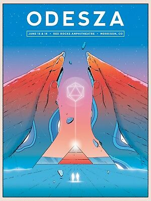 ODESZA 2018 DENVER RED ROCKS CONCERT TOUR POSTER -Indietronica Electropop Music