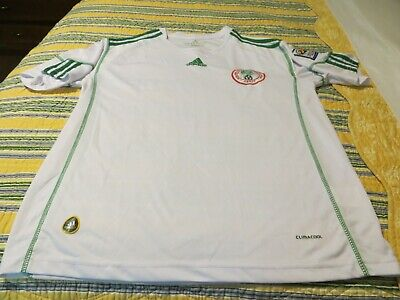 Mens LARGE White NIGERIA National Team 2010 FIFA World Cup ADIDAS Soccer Jersey