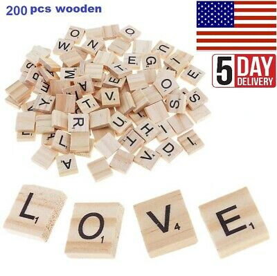 200 PC Wooden Scrabble Tiles Black Letters Numbers For Craft Alphabets - Numbers
