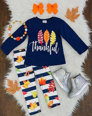 US Stock Kids Baby Girls Thanksgiving Clothes T-shirt Top Pants Outfit Tracksuit