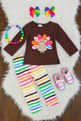 2pcs Toddler Kids Baby Girl Thanksgiving Clothes Turkey Tops Shirt Pants Outfits