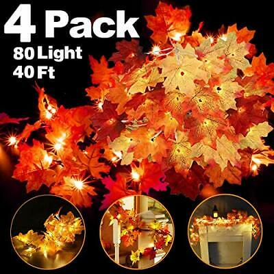 4 Pack Thanksgiving Fall Decorations Leaf Garland String Lights for Indoor O