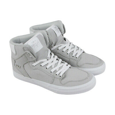 Supra Vaider 08204-068-M Mens Gray Canvas Casual Lace Up High Top Sneakers Shoes