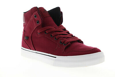 Supra Vaider 08025-650-M Mens Red Canvas Lace Up High Top Sneakers Shoes