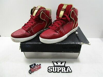Size 10M Supra Vaider High RedGold Leather Shoes IOB