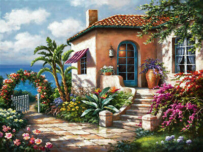 Full Drill Flower Sea House 5D Diamond Painting Embroidery Cross Stitch Decor