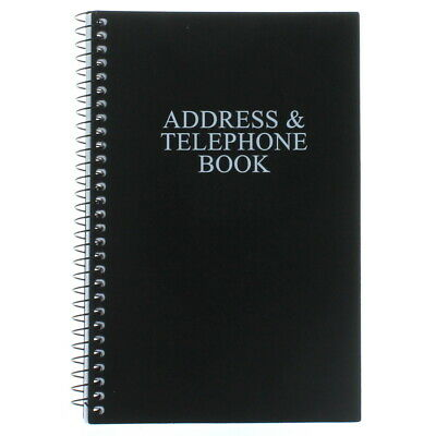 Black Telephone Address Book Spiral Bound Vinyl Cover 8 x 5