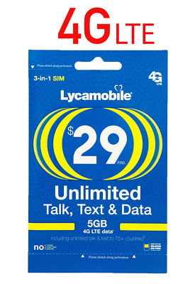 Lycamobile 29 Plan Prepaid 1st Month SIM Card 5GB 4G Unlimited Talk Text Data