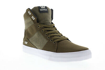 Supra Aluminum Mens Green Canvas - Textile High Top Lace Up Sneakers Shoes