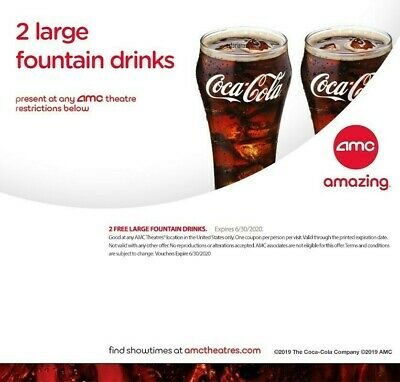 AMC 2 Large Fountain Drinks Expires 6302020 - INSTANT DELIVERY