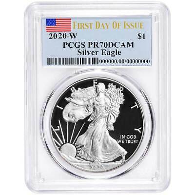 2020-W Proof 1 American Silver Eagle PCGS PR70DCAM FDOI Flag Label