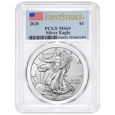2020 1 American Silver Eagle PCGS MS69 First Strike Flag Label