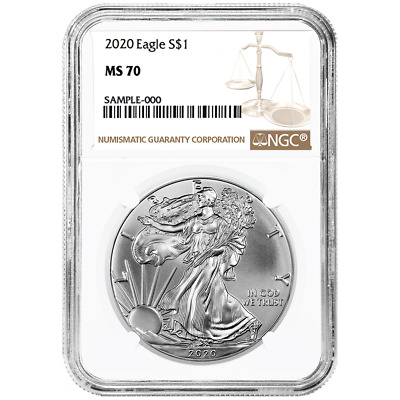 2020 1 American Silver Eagle NGC MS70 Brown Label
