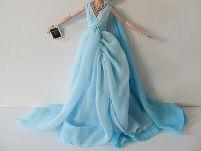 BARBIE FASHION MODEL BLUE CHIFFON BALL GOWN OUTFIT - ACCESSORIES ONLY