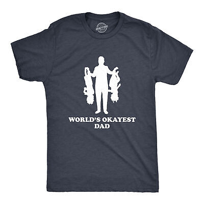 Mens Worlds Okayest Dad Holding Upside Down Kids T Shirt Funny Fathers Day Tee