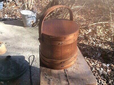 Vintage Primitive Wooden Firkin Sugar Bucket wSwing Handle - Lid