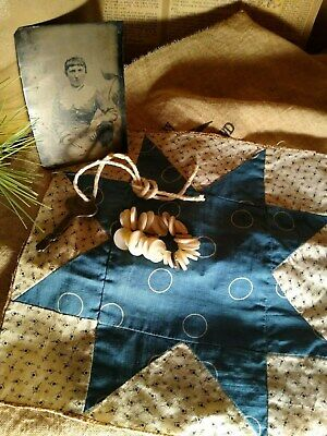 PRIMITIVE 1890s BLUE QUILT BLOCK -ANTIQUE TINTYPE - SKELETON KEY -SHELL BUTTONS