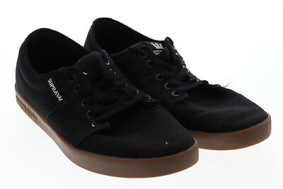 Supra Stacks II 08184-055-M Mens Black Canvas Lace Up Athletic Skate Shoes 10-5