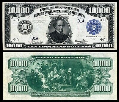 US 10000 Dollar Bill Series 1918 Large size with BLUE seal