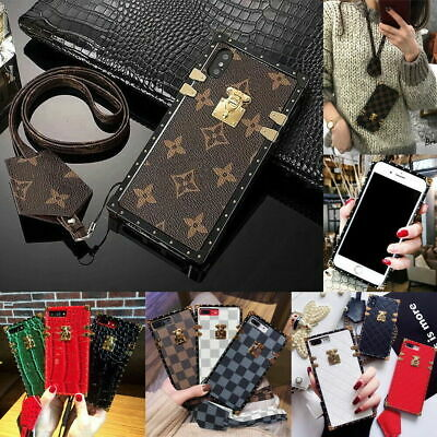 For iphone 11 Pro Max 11 X XS 7 Luxury Square Case Classic Pattern Lanyard Cover