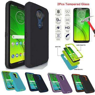 For Motorola Moto G7 Power Supra Optimo Maxx Case With Tempered Glass Protector