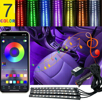 4X 48 LED Car Interior Atmosphere Neon Light Strip Music Bluetooth Phone Control