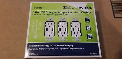 15 Amp Decora Combination Tamper Resistant Duplex Outlet and USB Charger White
