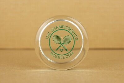 Vintage The Championships Wimbledon Tennis Puck Shaped Paperweight 2-75 D