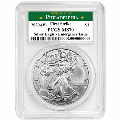 2020 P 1 American Silver Eagle PCGS MS70 Emergency Production FS Philadelphia