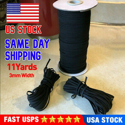 Black Round Elastic 18 inch 3mm 11 Yards For Face Mask DIY Free Shipping USA