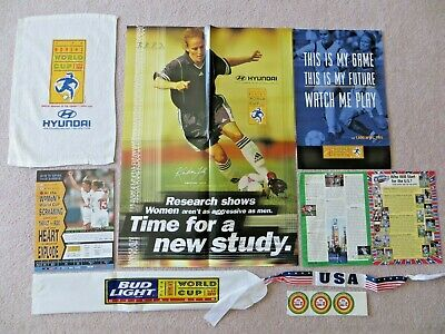 USA WOMENS WORLD CUP CHAMPIONS 1999 OFFICIAL GAME MEMORABILIA VS CHINA LOT