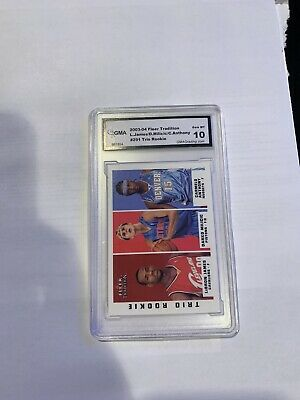 03-04 Lebron James  Carmelo Anthony Fleer Tradition Rookie RC GMA 10 Gem Mint