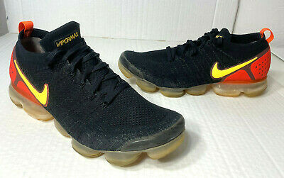 Nike Air VaporMax Flyknit 2 Black Laser Orange Yellow Running Shoes Sz 12  46