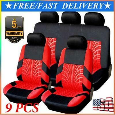 9x Full Set Universal Auto Seat Covers Protector For Car Truck SUV Van Black-Red
