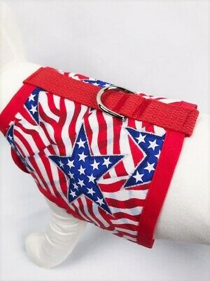 Patriotic Fourth Of July Stars And Stripes Flag Dog Harness Apparel Vest