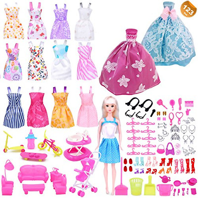 123 Pcs Clothes and Accessories for Barbie Dolls Gown Outfits Party Accessories
