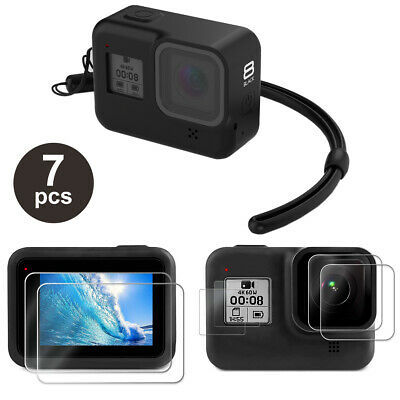 Accessories Kit for GoPro Hero 8 Black Silicone Protective Case-Screen Lens Film