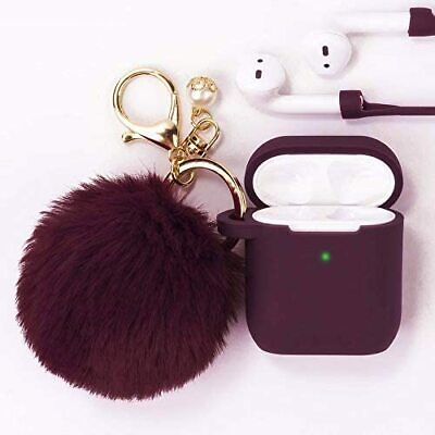 Protective Silicone Case Cover for Airpods 1-2 Cute Pompom Keychain Gift