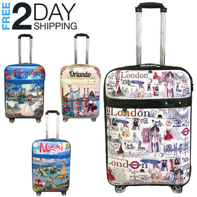 Luggage 25 Suitcase Trolley Wheeled Spinner Travel Set Bag Lightweight Suitcase