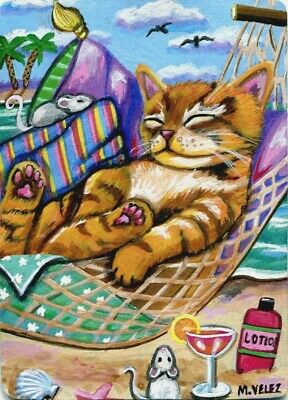 Original Cat Kitten Mouse Tropical Ocean Beach Hammock Lazy Days ACEO Print