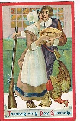ANTIQUE EMBOSSED THANKSGIVING Postcard   YOUNG PILGRIM COUPLE KISSING