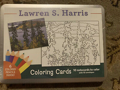 Coloring Cards Activity Kit  Lawren S- Harris 10 Notecards to Color