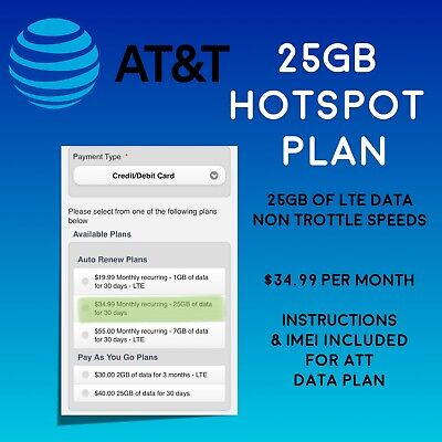 AT-T 25GB UNTROTTLED Data Plan 4G LTE 35 Month For Hotspot - Sim Included 🇺🇸