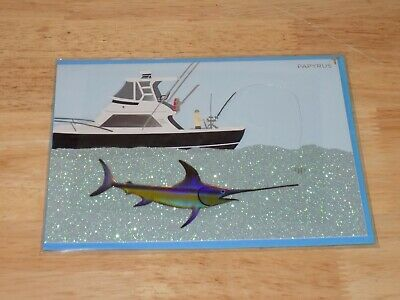 Papyrus Greeting Card Fathers Day Boat with Swordfish Glitter Water 5151633