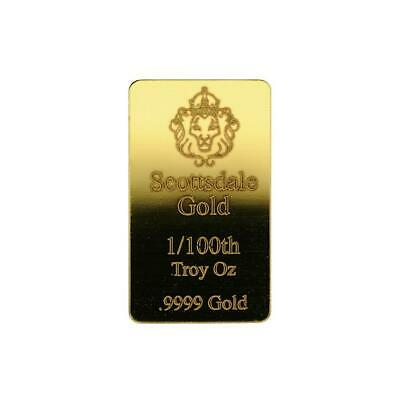1100 oz -9999 Gold Bar by Scottsdale Mint - Fractional Gold Bullion A504