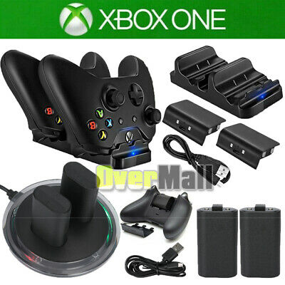 For XBOX ONE Controller Play Dual Charging Dock-2x Rechargeable Battery Pack US
